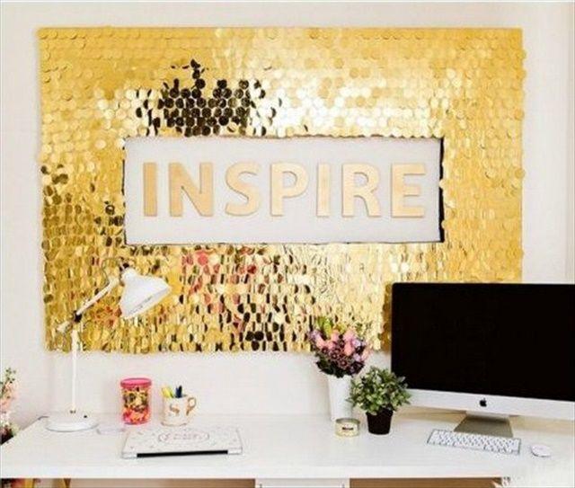 16 Diy Awesome Wall Art Ideas Sequin Wall Diy Wall Decor Diy Gold Decor