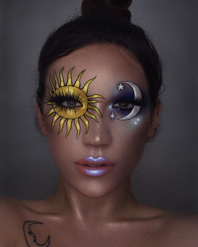 Makeup Artist Transforms Her Eyelids Into Two Gorgeous Shimmering Sunset
