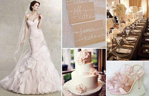 the color taupe in a wedding | Wedding Gown: Kitty Chen Couture | Escort Cards: Style Me Pretty