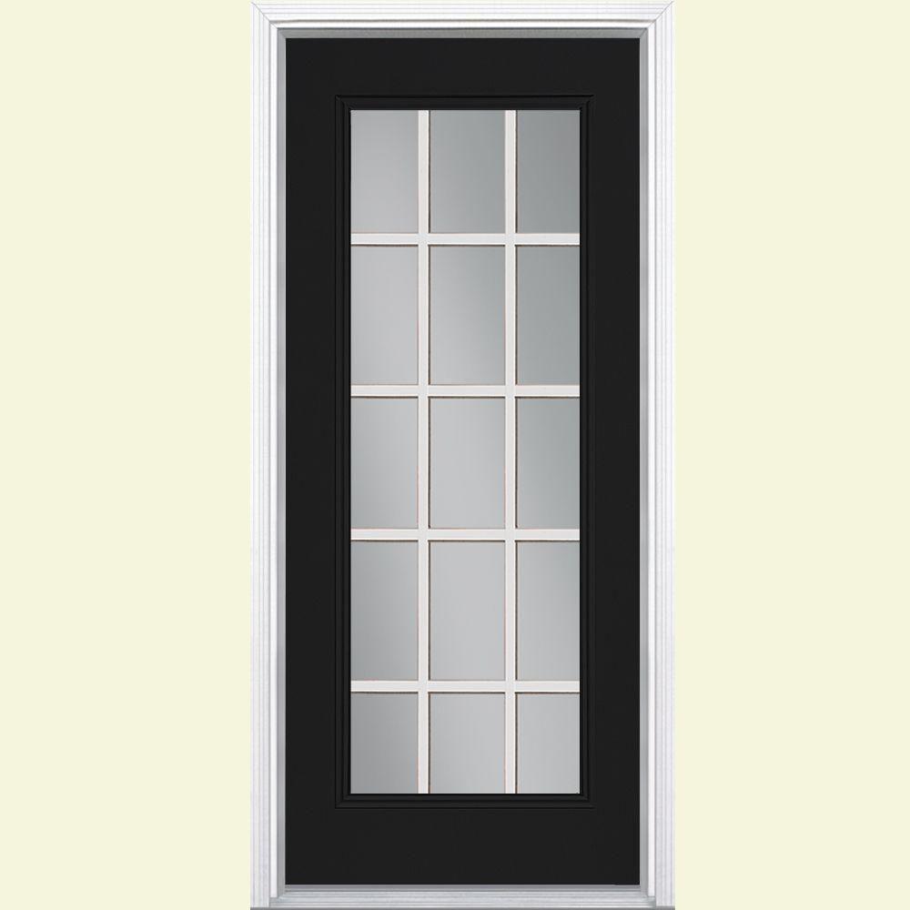 15 Lite Left Hand Inswing Painted Steel Prehung Front Door With Brickmold,  Jet Black
