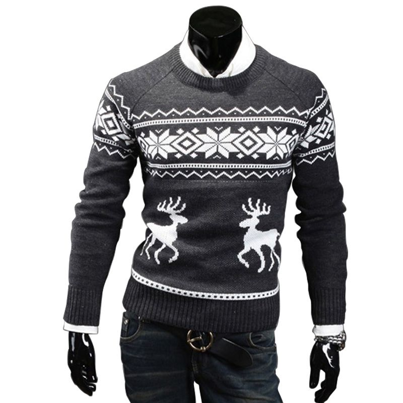 Stylish Men Round Neck Slim Sweater Xmas Coats Reindeer Knitted ...