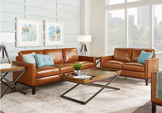 Picture Of Greenwich Sienna Brown Leather 3 Pc Living Room From Endearing Black Leather Living Room Furniture Review