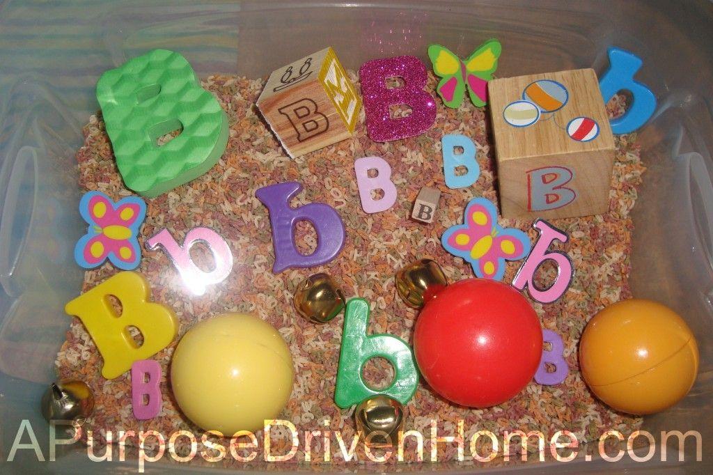 alphabet lotw sensory bin