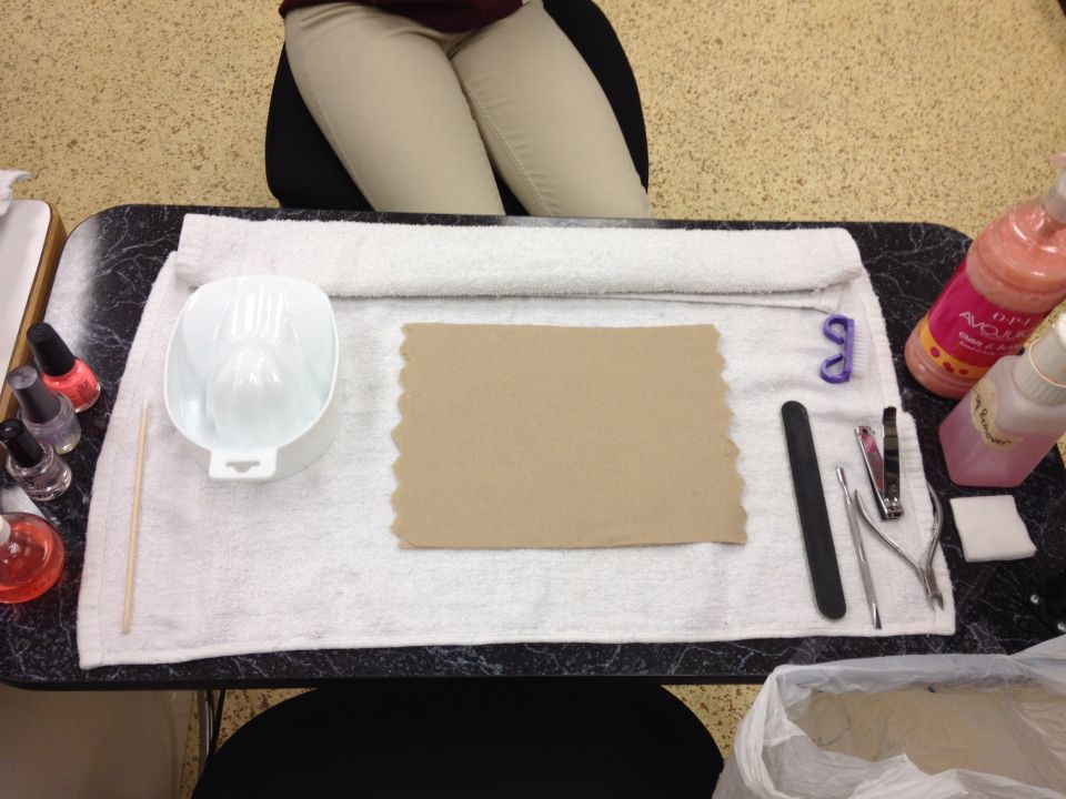 Manicure table set up from the manicurists view Manicure