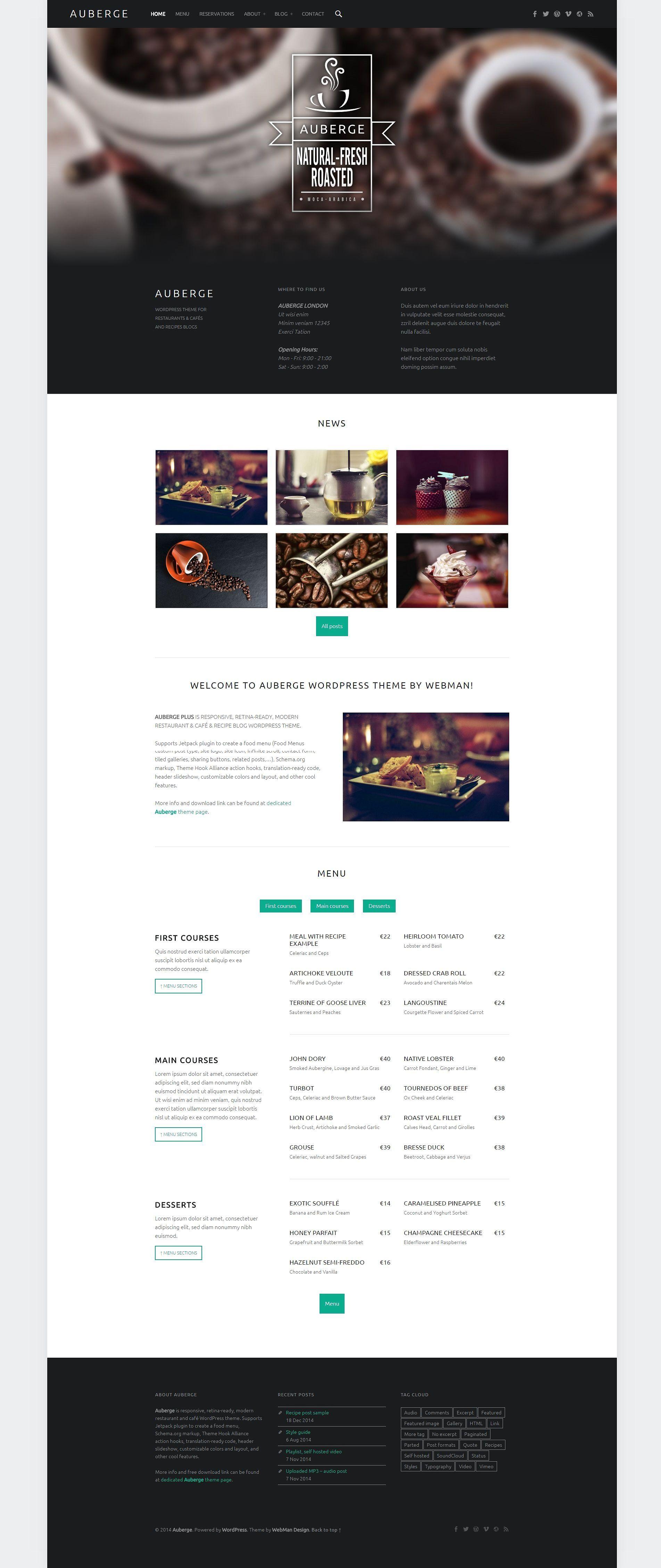 Auberge Plus Wordpress Theme Wordpress Theme Cafe Website
