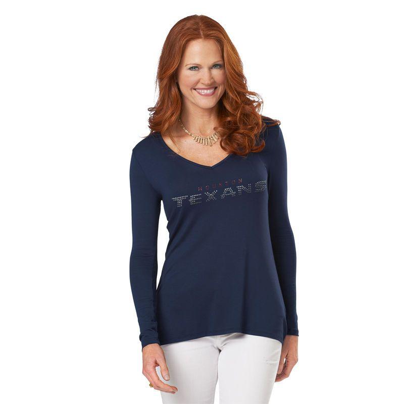 Womens Meesh & Mia Navy Blue Houston Texans Hi-Lo V-Neck Long Sleeve T-Shirt