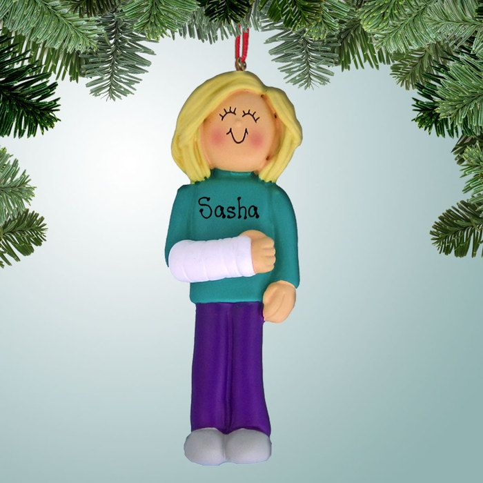 PersonalizedFree.com - Female with Broken Arm - Blonde Personalized Christmas  Ornament, $13.99 ( - Female With Broken Arm - Blonde In 2018 Personalized Christmas