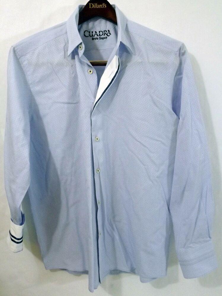 5aec97bb1702d NWOT Cuadra Style Legacy M Blue Textured Polka Dots LS /Solid Flip Cuffs  Shirt