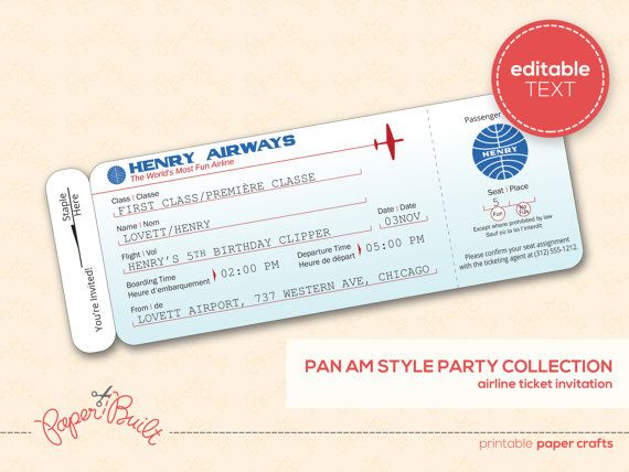 Printable Airplane Birthday Party Airline Ticket Invitation - airplane ticket template