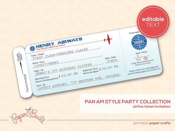 Modern Airplane Birthday Party Airline Ticket Invitation, Boarding - airline ticket invitation