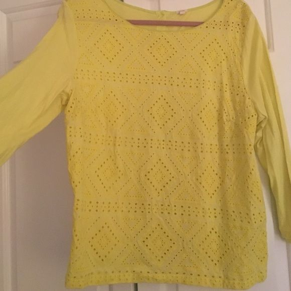 Jcrew embroidered top Bright green/yellow top, buttons in the back, pretty embroidery J. Crew Tops Tees - Long Sleeve