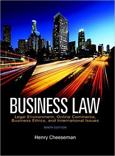 Test Bank For Business Law 9th Edition Henry Cheeseman