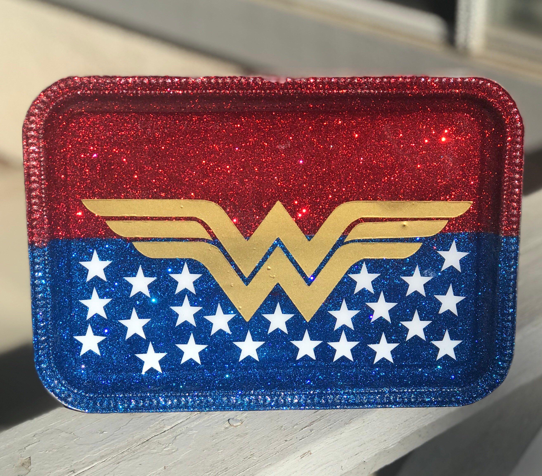 Wonderwoman Rolling Tray Etsy Diy Tray Tray Diy Tumblers
