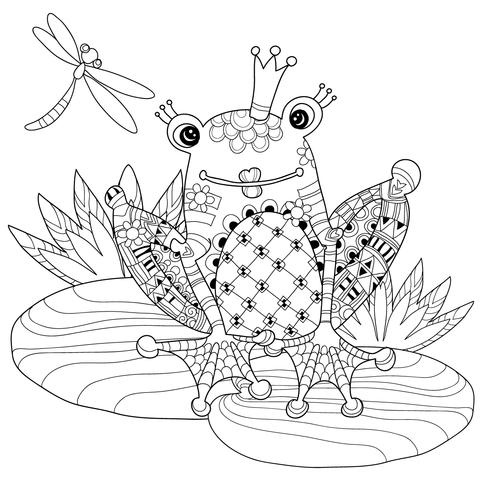 zentangle frog prince coloring page  free printable