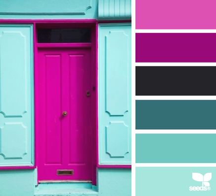 bright shades of turquoise accentuate bright shades of pink very