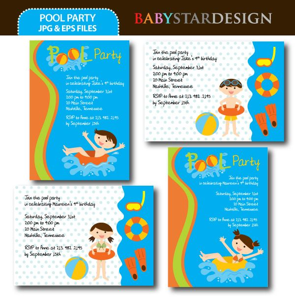 pool party invitation templates | pool party ideas and graphics, Birthday invitations