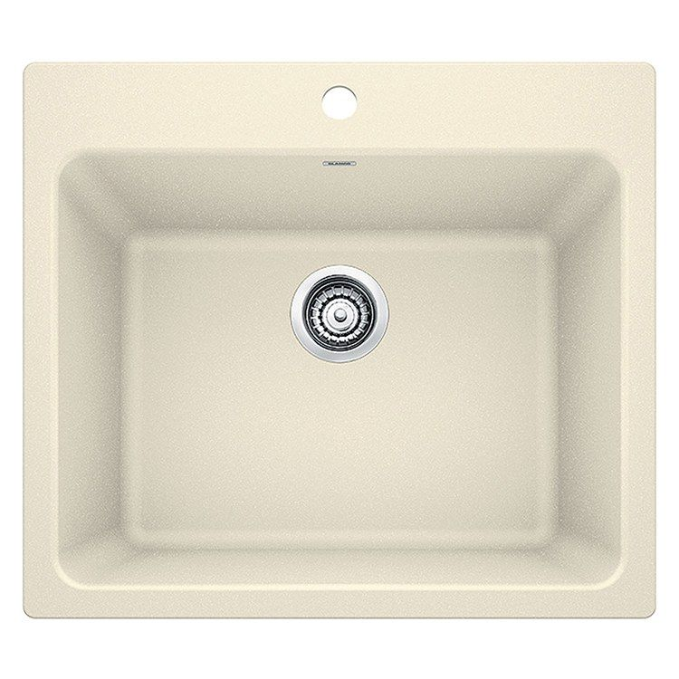 Liven 25 Single Bowl Silgranit Dual Mount Laundry Sink With 1