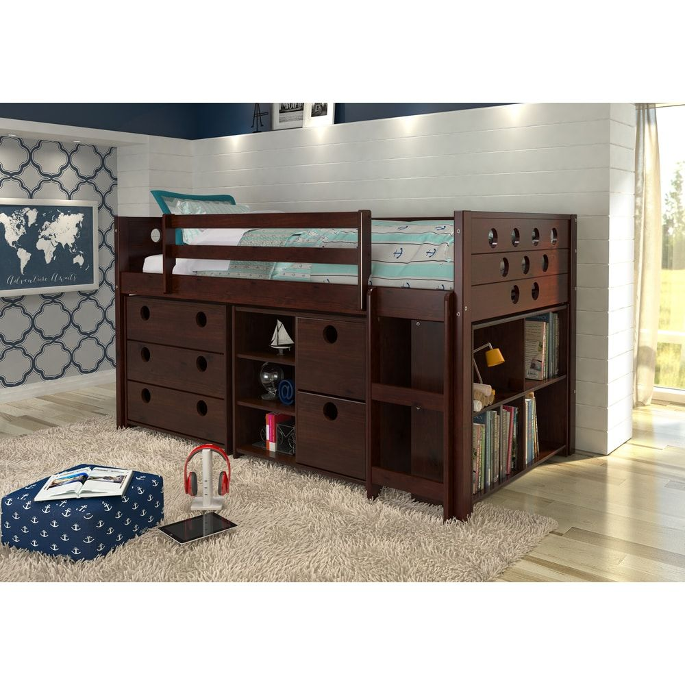 Low loft bed with desk and dresser  Donco Kids Circles Modular Low Loft Twin Bed  Overstock