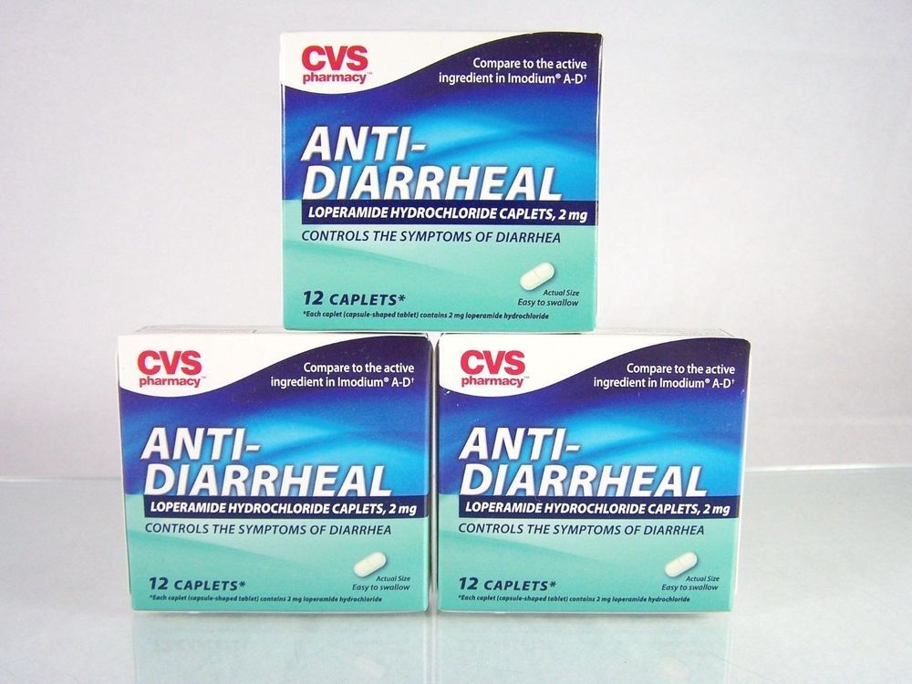 #CVS Pharmacy lot/set of three (3) 12 count ct. size boxes of anti-diarrheal #caplets to control diarrhea symptoms with 2 mg doses of #loperamide hydrochloride for a total of 36 capsule-shaped #tablets like #Imodium A-D, brand new and unused in original manufacturer's factory sealed retail protective cardboard box packaging with blister seals in foil packs…