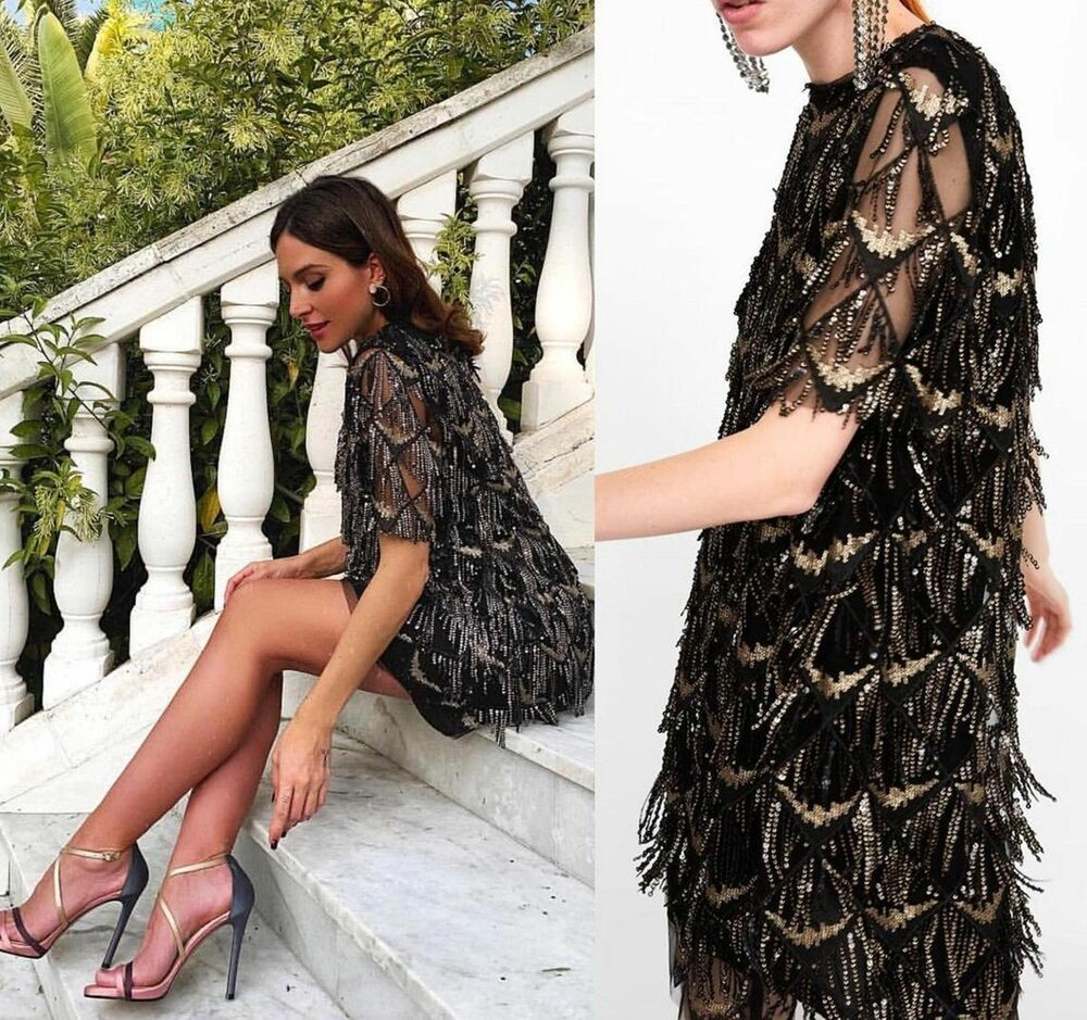 a88dc191 NWT ZARA SEQUINNED FRINGE DRESS BLACK GOLD SIZE L Ref.8516/552 #ZARA  #PartyCocktail