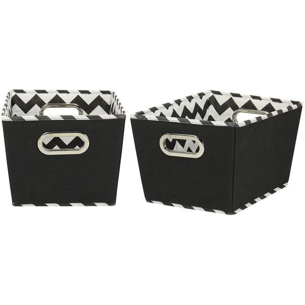 Household Essentials Set of 2 Small Tapered Storage Bins ($29) ❤ liked on Polyvore featuring home, home decor, small item storage and storage bins