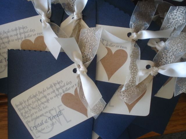Navy and Gold Lottery Ticket Favor for Wedding