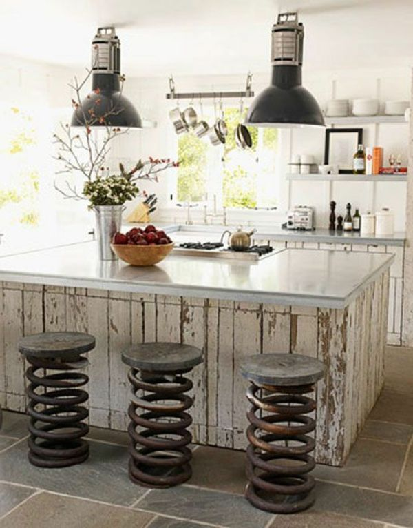 Rustikale Barhocker interessante rustikale barhocker und zwei schwarze len küchen