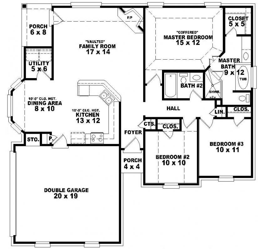 Bentley Iii Bungalow Floor Plan With 3 Bedrooms 30x43 House Plans 3 Bungalow Floor Plans Two Story House Plans Floor Plans