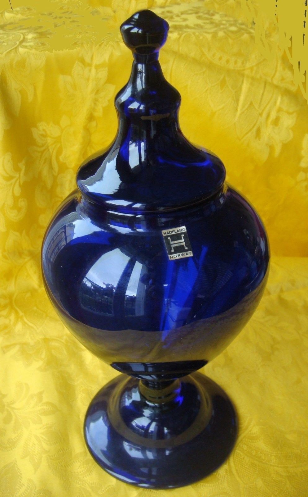 Hadeland norway scandinavian cobalt blue glass vase with lid pot hadeland norway scandinavian cobalt blue glass vase with lid pot norvge verre ebay floridaeventfo Image collections