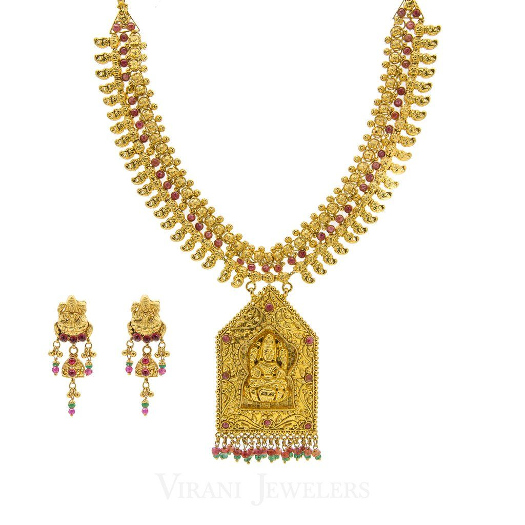 K gold temple necklace and earrings set temple and gold