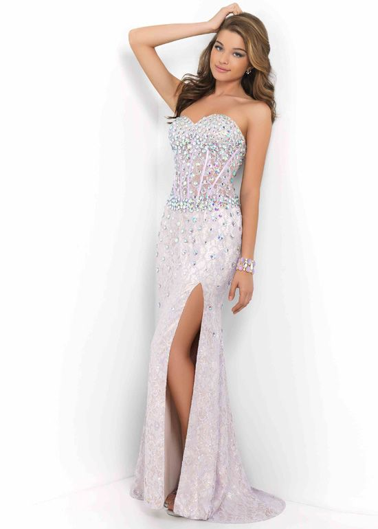 astonishing Cheap Fitted Rhinestone Beaded Lilac Nude Side Slit ...