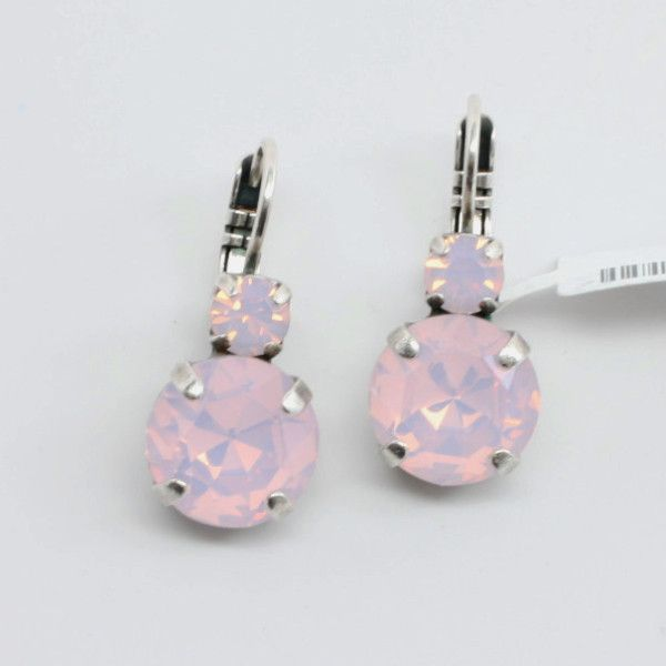 Rosewater Opal Large Double Crystal Earrings