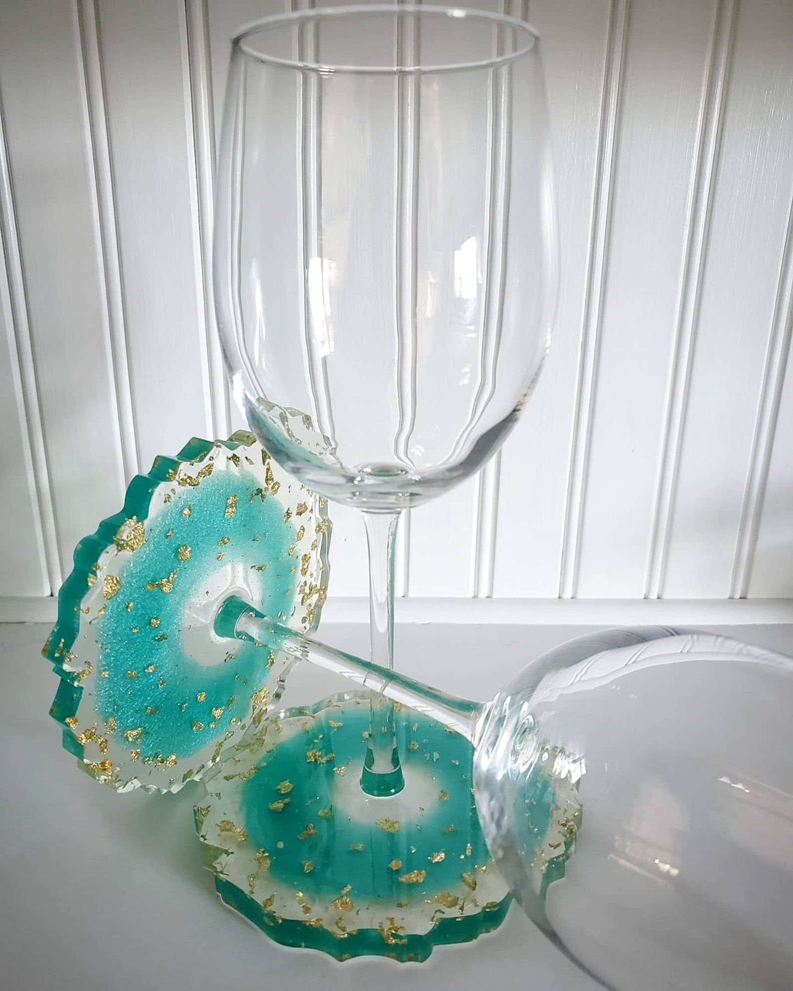 Photo of Wine Glasses with Geode Coaster, Wine Glass for her, Elegant Wine Glasses, perfect wedding gift