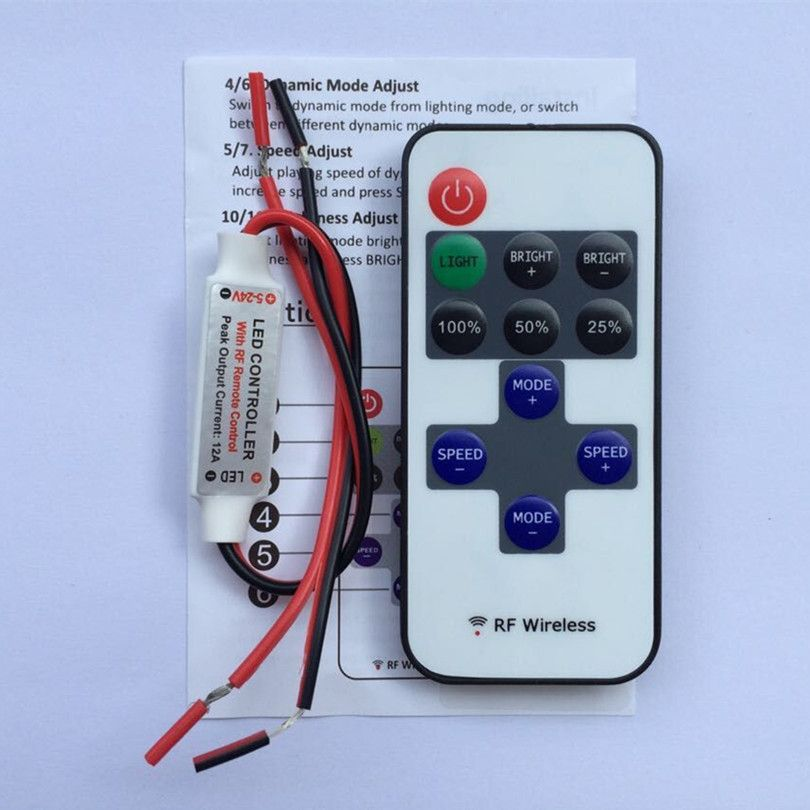 20pcs Dc12v 24v Wireless Rf Mini Led Single Color Dimmer 12v Controller To Control Led Strip Smd3528 5050 Lighting Free Shipp Led Dimmer Led Strip Lighting Led