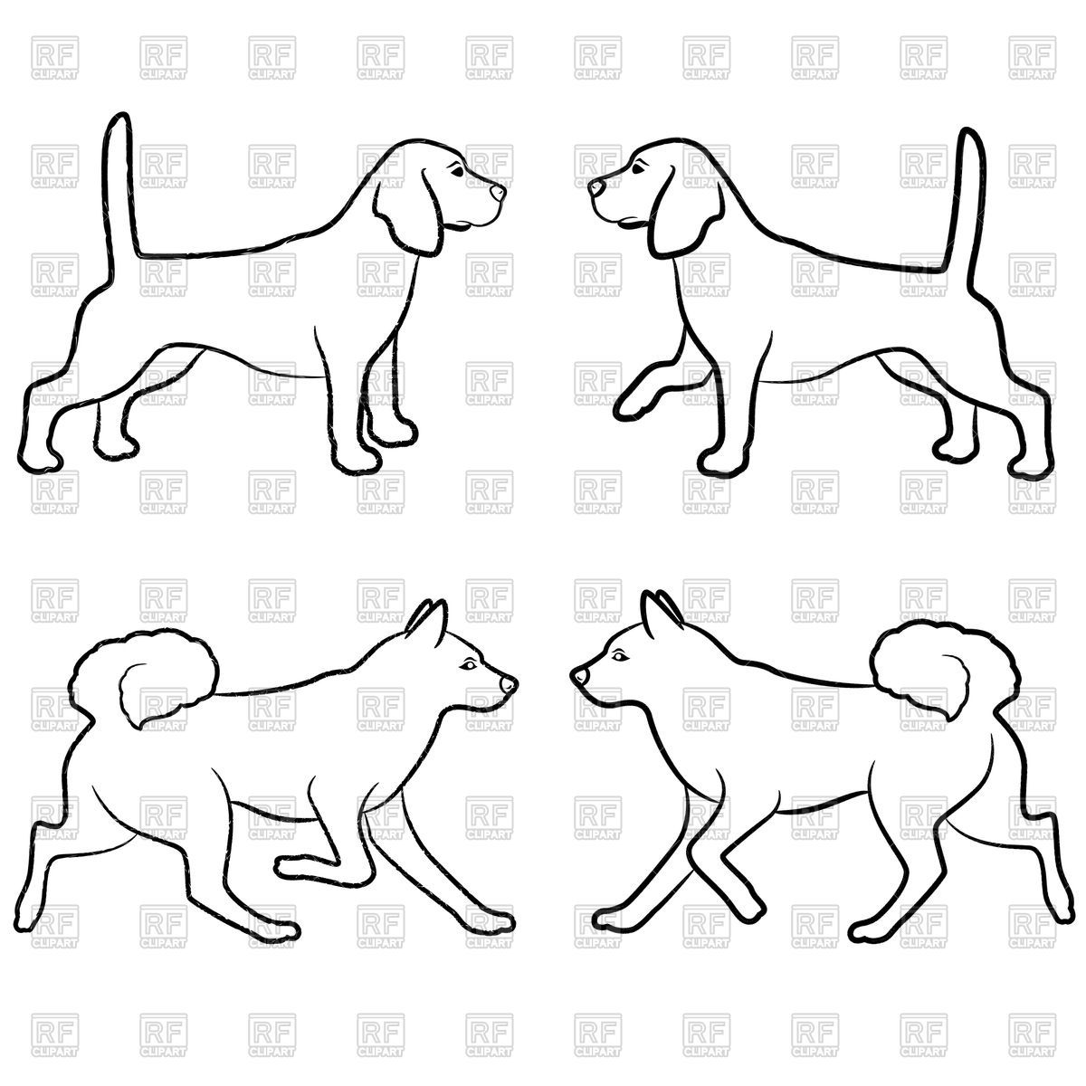Download Royalty Free Set Of Dogs Outline
