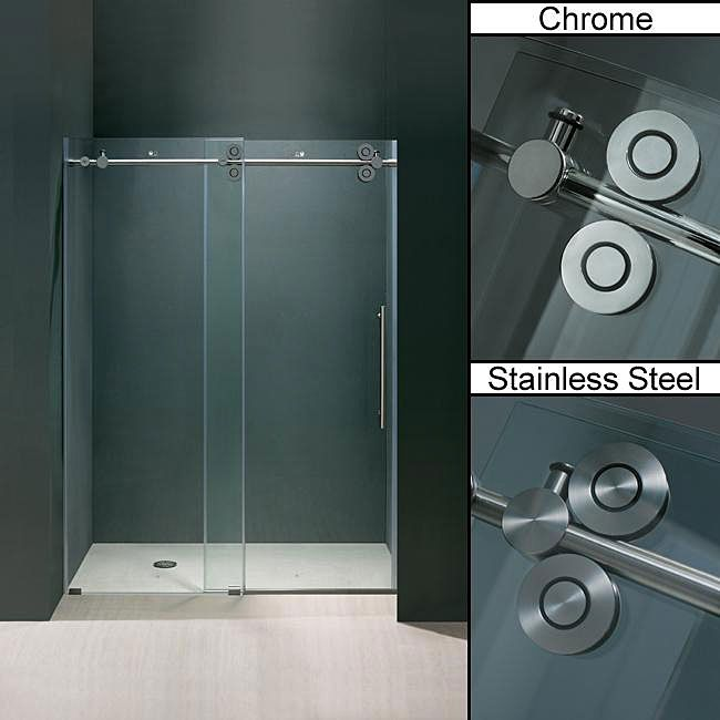 update the look of your bathroom shower stall with these frameless sliding glass shower doors