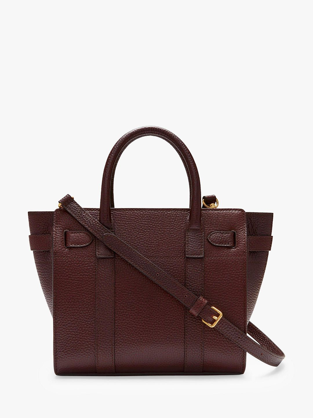 49e51c67a BuyMulberry Mini Bayswater Zipped Grain Veg Tanned Leather Tote Bag,  Oxblood Online at johnlewis.com