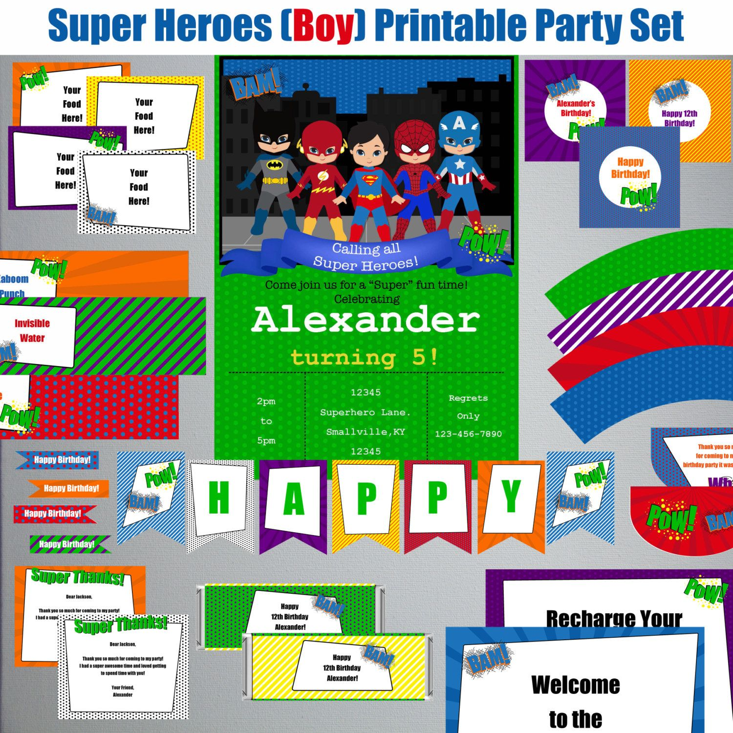 Super Heroes-Boy-Birthday Printable Party Set-DIY Printable-Instant Download-Editable Files-Banner-Labels-Tags-Toppers-Sign by PaperWillowDesigns on Etsy