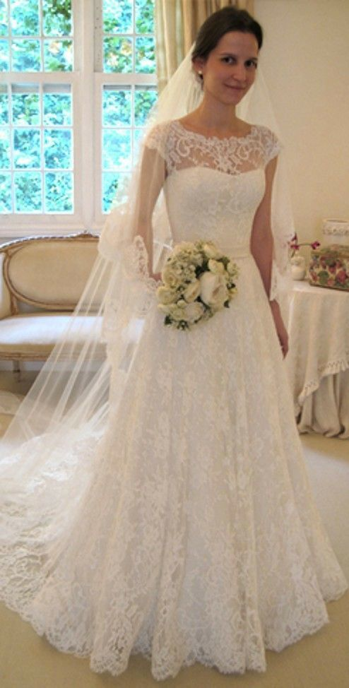 Hot Sale Charming Bateau Neck Lace Wedding Dresses A Line Cap ...