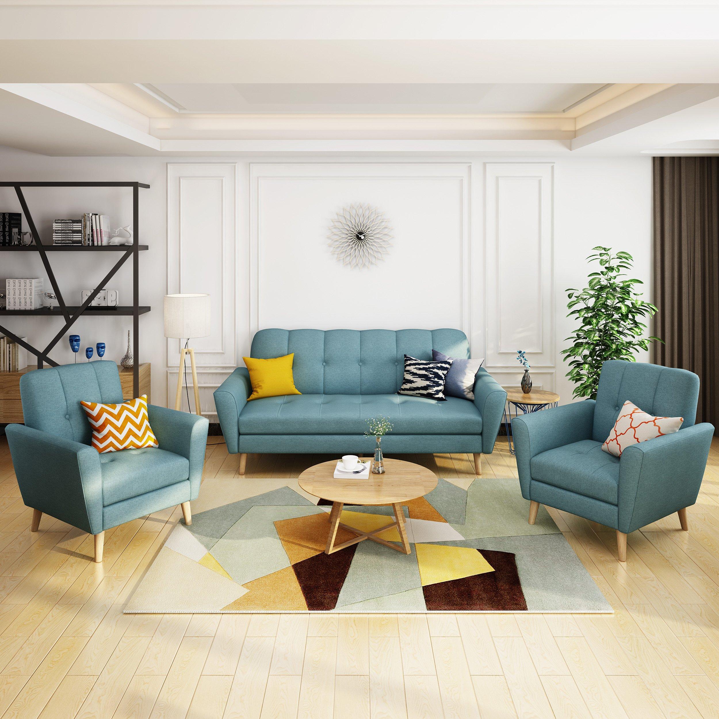 Angelina Mid-Century Fabric Sofa Chat Set | Design living ...