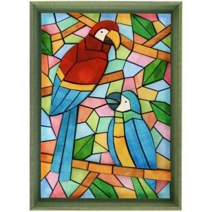 3D Paper Mosaic Tropical Birds3D MosaicArtnaturetropical IslandParrotredartBirdsInterior Greendecorationstained Glassblue