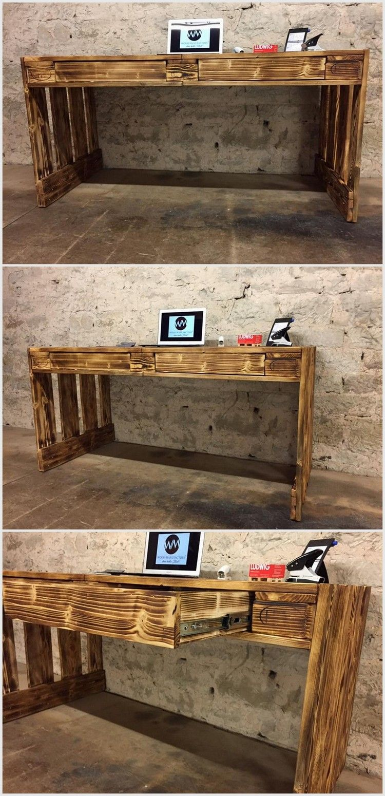 Pallet Office Table With Storage