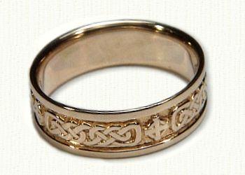 Celtic Lindesfarne Knot With Celtic Cross Wedding Band