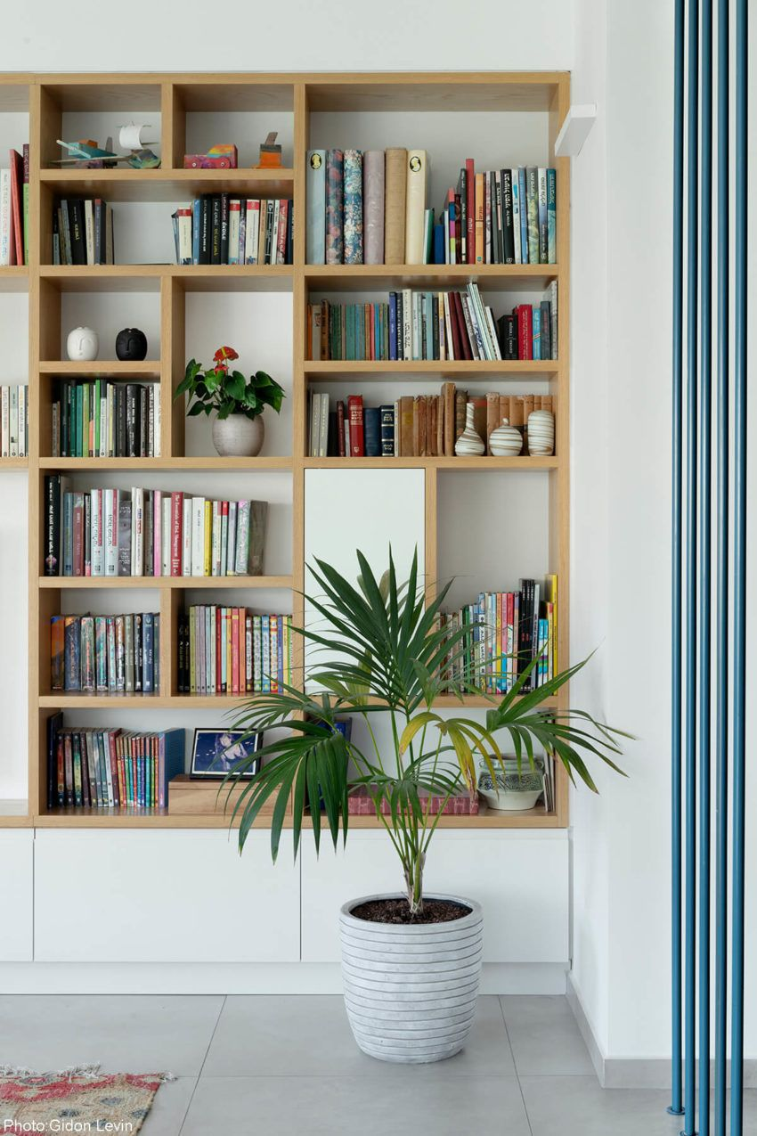 150sqm Apartment Tel Aviv Fineshmaker Home Library Design Living Room Bookcase Bookshelf Design