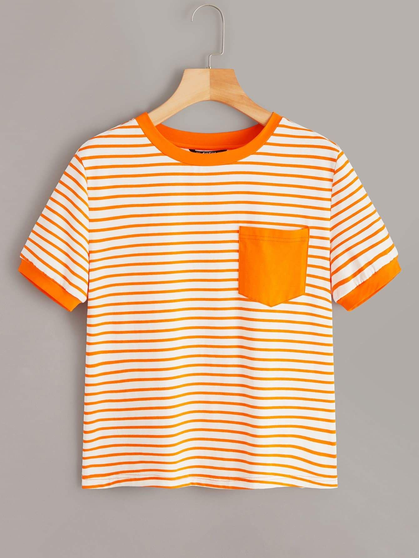 Neon Orange Striped Pocket Patch Ringer Tee Ringer tee  Ringer tee