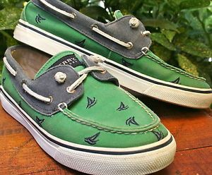 Women-Sperry-Sider-Green-Blue-Cotton-Canvas-Sail-Boat-shoe-US-8-M-Euro-38-UK-6
