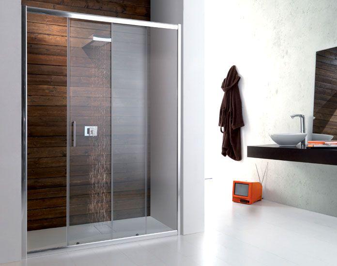Box doccia con porta scorrevole per nicchia in vetro temperato da 6 mm con struttura in - Vetro doccia scorrevole ...