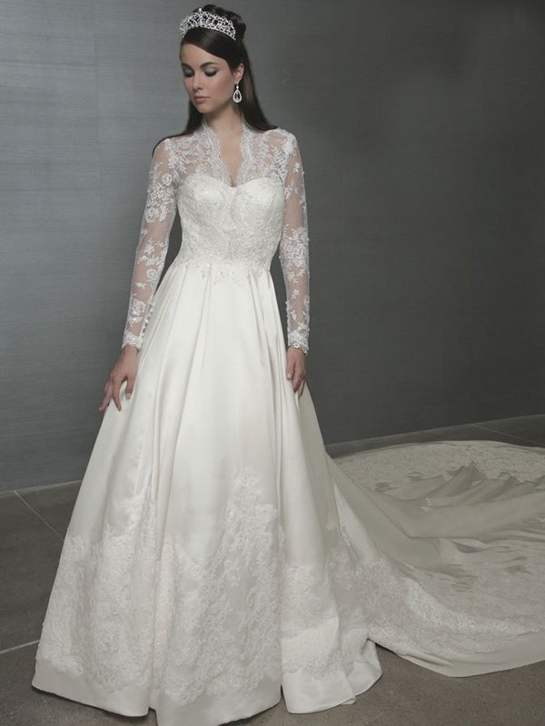 wedding dresses with sleeves | Line with Long Sleeves Made in Lace ...