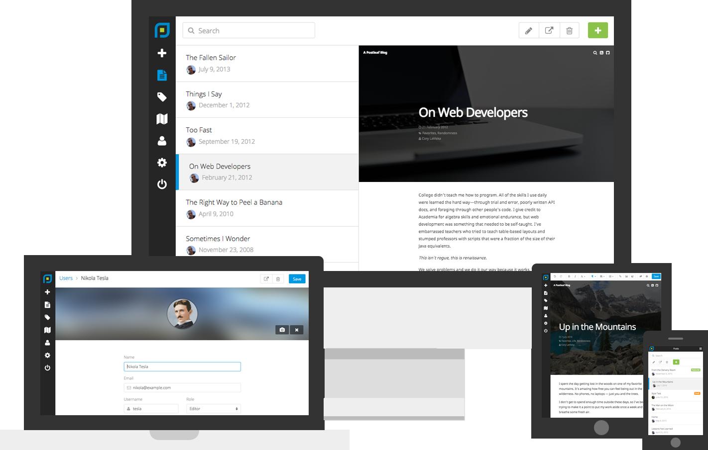 An open source blogging platform with inline editing, handlebar ...
