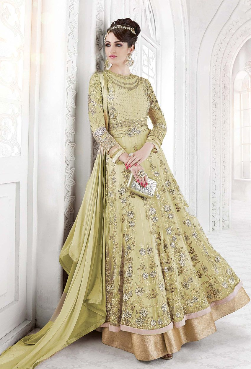 Green net long anarkali style salwar suit in anarkali